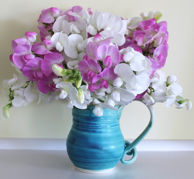 Simple and lovely: perennial sweet peas in a beautiful pottery mug.